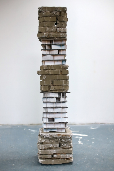 Untitled, 1500 x 250 x 250mm, Concrete, Cardboard, Enamel